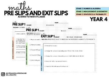 Pre Slips and Exit Slips Mathematics Year 4