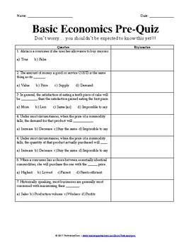 Pre-Tests on Basic Economic Principles