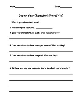 Pre-Write (Design Your Character)