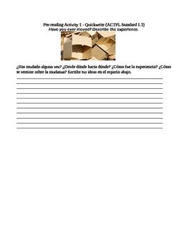 Pre-Writing Activity for Cajas de Carton / The Circuit by Francisco Jimenez