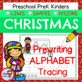 Christmas Prewriting Alphabet - Tracing Lines and Shapes