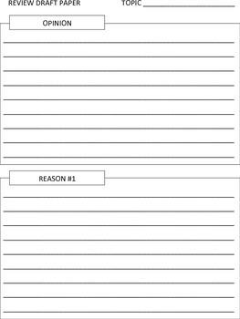 Pre-Writing Opinion Pieces: Writing Organizer
