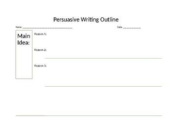 Pre-Writing Organizer for Persuasive Writing
