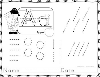Pre-Writing - Tracing Lines and Shapes   - Alphabet FREE SAMPLE