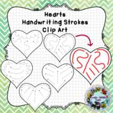 Pre-Writing Practice Clip Art: Hearts