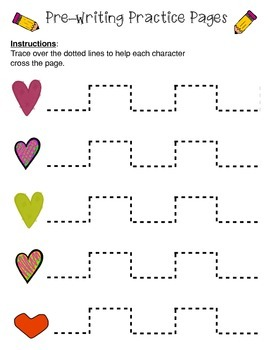 Pre-Writing Practice Pages: Valentine's Pack