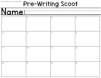 Pre-Writing Scoot