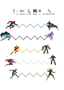 Super hero Pre Writing activity and worksheets