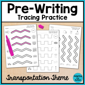 Pre-Writing Print and Go Tracing Practice: Transportation Theme
