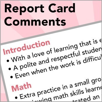 Sentences for Report Card Comments