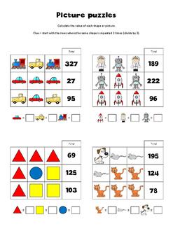Pre-algebra picture puzzles 3 x 3