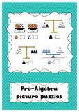 Pre-algebra picture puzzles - scales