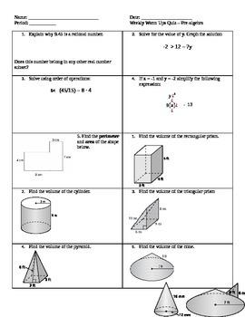 Pre-algebra quizzes