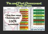 Editable Assessment Data Form (Drop Down Menus Color Codes Benchmark Level)