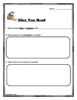 Pre and Post Reading Comprehension Sheets (Primary)