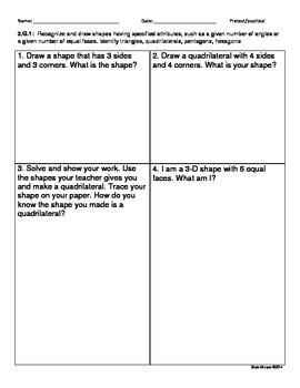 Pre and post test assessment for Common core standard 2.G.1