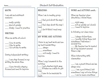 Conference Student Self-Evaluation