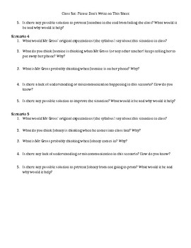 Pre-empting Common Classroom Conflicts Activity