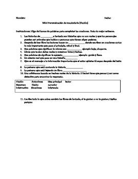 Pre-evaluacion de vocabulario de ficccion