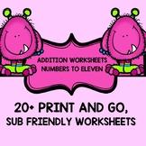 Pre-k - 1st grade EASY ADDITION WORKSHEETS 0-11 25 workshe