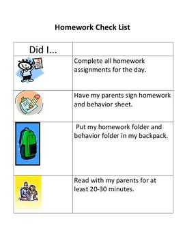 Pre-k - 2nd grade homework check list
