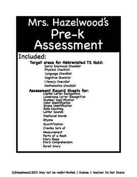 Pre-k Assessment Aligned with TS Gold Abbreviated