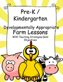 Pre-k / K Farm & Clothing Lesson Plans With Teaching Strategies GOLD Objectives