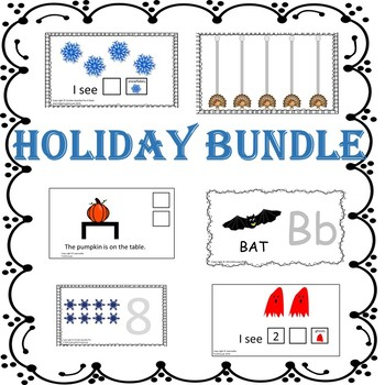 Pre-k Math, Counting, Tracing, Prepositions Holiday Adapted Book Bundle