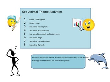 Pre k and Kindergarten Sea Animal/ Ocean Theme Activities