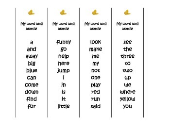 Pre-k word wall words