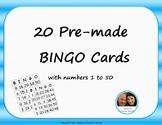 Pre-made BINGO Cards - Numbers 1-50