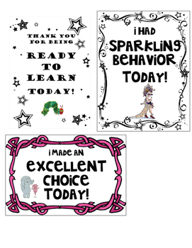 Pre-made Behavior Chart Notes Home
