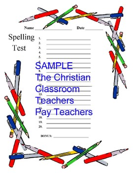 Pre-numbered and lined Paper for Spelling Tests