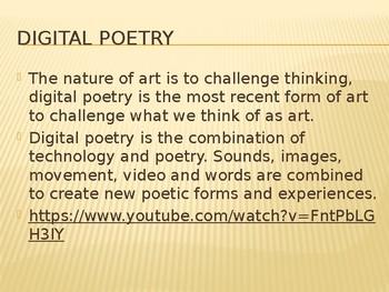 Pre-occupied digital poem lesson