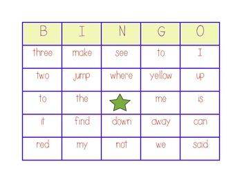 Pre-primer Bingo Game- Kindergarten/First Grade (Center Game)