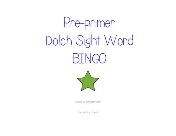 Pre-primer Bingo Game- Kindergarten/First Grade (Center Game)