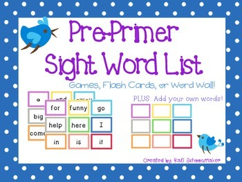 Pre-primer Dolch Sight Word Games and Flash Cards