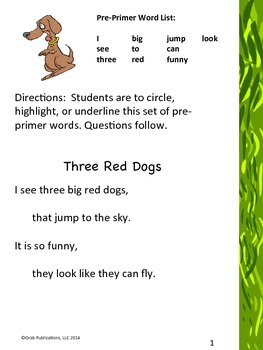 "Pre-primer Dolch Sight Word List ""Three Red Dogs"""