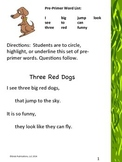 """Pre-primer Dolch Sight Word List """"Three Red Dogs"""""""
