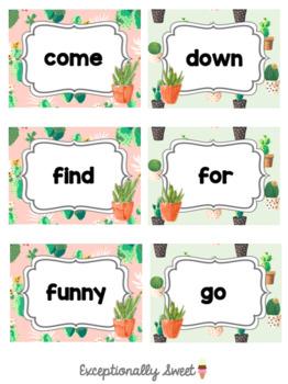 Pre-primer Dolch Sight Word Ring Cactus Theme Pre-K Kindergarten
