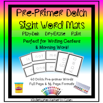 Pre-primer Dolch Sight Word Tracing Mats - Dry-erase Play-Doh Pre-K Kindergarten