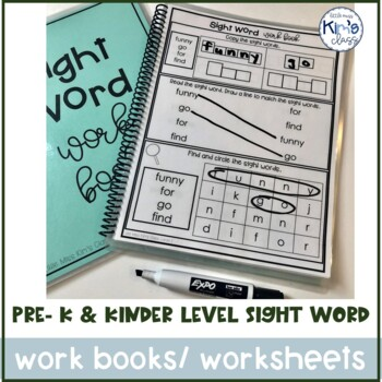 Pre-K & Kindergarten Sight Word Work Books or Worksheets-Differentiated