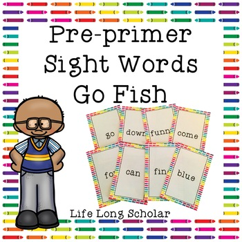 Dolch Pre-primer Sight Words Go Fish Review Game
