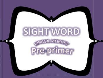Pre-primer Dolch Word Bingo and Memory