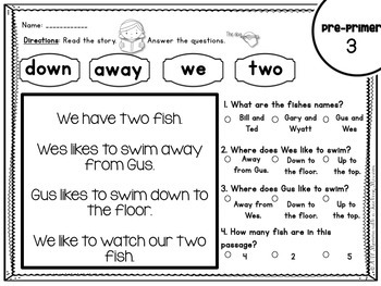 Pre-primer, Primer, and 1st Grade Sight Word Comprehension Passages
