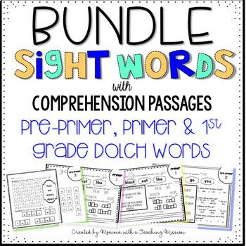 BUNDLE Pre-primer, Primer, and 1st Grade Sight Word Comprehension Passages