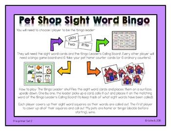 Pre-primer Sight Word Bingo 2