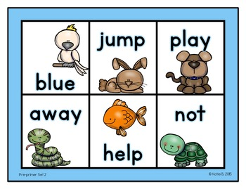 Pre-primer Sight Word Bingo 2