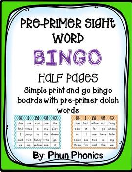 Pre-primer Sight Word Bingo (half page)
