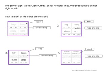 Pre-primer Sight Word Clip It Cards